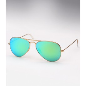 Aviator Matte Gold Green Mirror