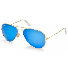 Ray-Ban Aviator Flash Lenses - Matte Gold/Blue Mirror
