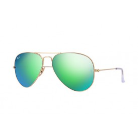 Ray-Ban Aviator FLash Lenses - Matte Gold/Green Mirror