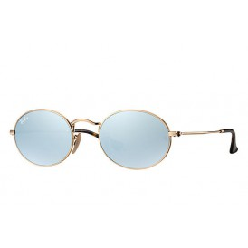 Ray-Ban Oval Flat Lenses - Gold + Grey Flash